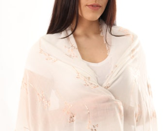 Personalized Rose Gold Foil Scarf Ladies Wraps Shawls Formal Evening Wrap Wedding Shawl Bridal Shawl Gift for Her Bridesmaid UK Sellers Only