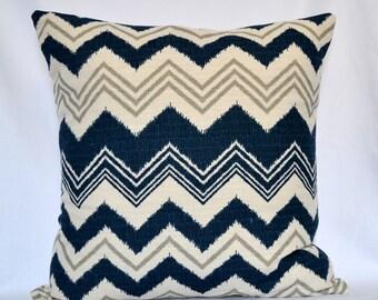 Pillows Blue navy Decorative pillow Designer Pillow Accent pillow Cover chevron blue navy and beige