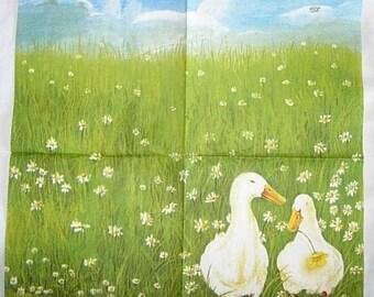 Duck with flower napkin