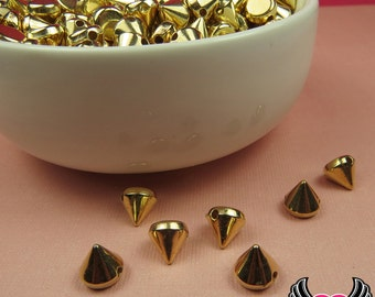 50 pc Metallic Gold SPIKE CONE BEADS / Flatback Cellphone Decoden Cabochons 8mm