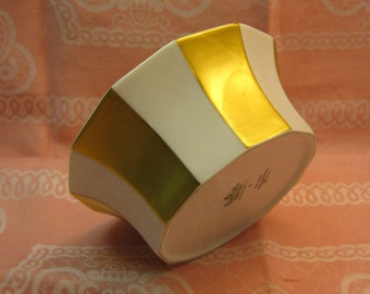 Rosenthal Polygon Small Porcelain Bowl Designer Tapio Wirkkala, White and Gold, Made in Germany