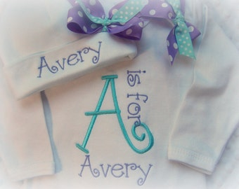 Personalized Take Home Outfit, Girls Take Home From Hospital Outfit, Baby Hospital Hat and bow,  Newborn Name Gown, Girls Coming Home outfit