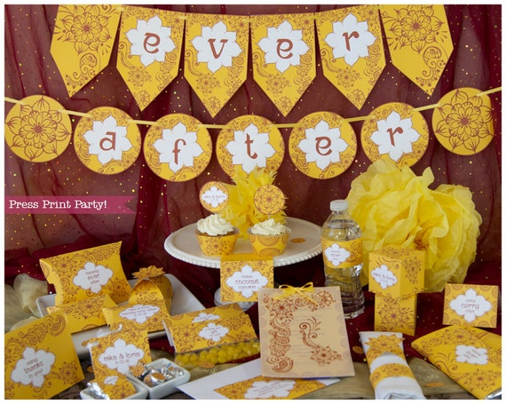 Mehndi Party Entertainment Ideas : Bolywood party indian printables red and yellow
