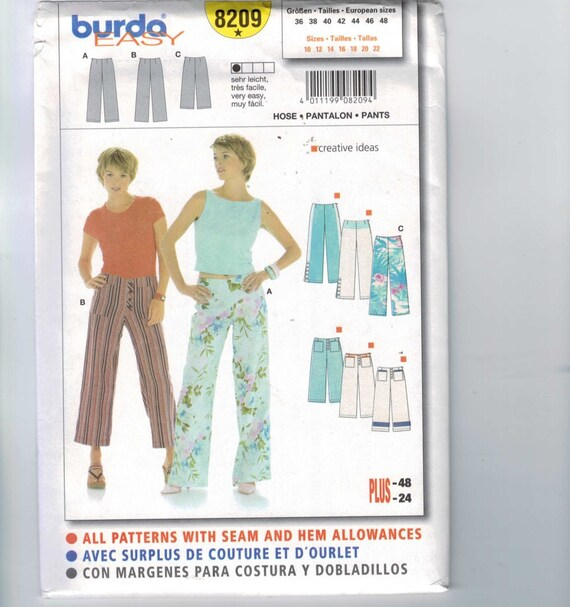 Misses Sewing Pattern Burda 8209 Misses Wide Leg Pants Cropped Size ...