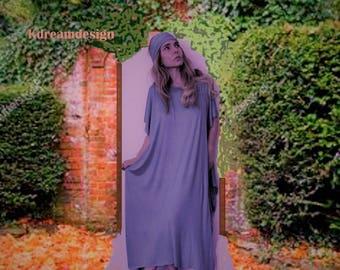 Flowy dress   Off Shoulder Boho Dress  Short Sleeve Loose Dress   Summer dress   Comfy dress   bridesmaid beach party dress  