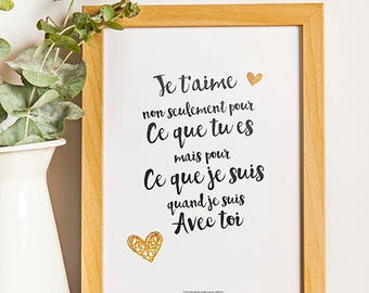 A4 - Poster - I love you - love, quote, poster quote, black and white, valentine, statement, sweetheart, couple - A