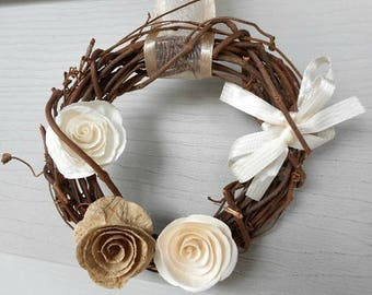 "READY TO SHIP !, Wreath, Twig Wreath, Small Wreath, Wreath with Paper Flowers, 6"" Wreath"