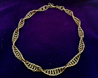 Long Golden Chainmaille Necklace - Jewelry Brass - Single Spiral - Chainmail Jewelry
