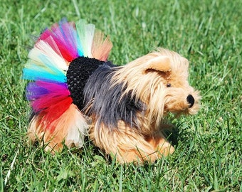 Rainbow Explosion Dog Tutu With Customizable Waist Band Color - Fits Dogs 13 To 23 Inches Around