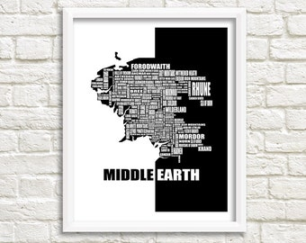 """Map of Middle Earth, Lord of the Rings Map, Instant Download, Middle Earth map decor, The Hobbit Map, Wall Art, Black, White, 8x10"""", 11x14"""""""