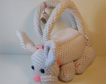 Crocheted Bunny rabbit purse stuffed amigurumi style