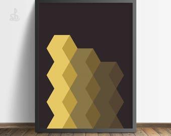 Geometric Print, Geometric Art, Yellow Gold Hexagons, Black and Gold, Printable Art, Minimalist Art, Printable Wall Art, Digital Art