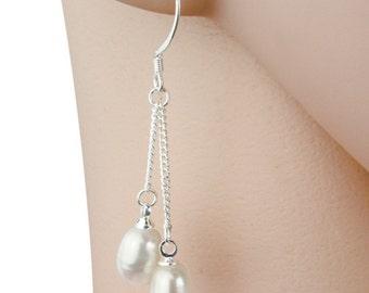 925 Sterling Silver Genuine Freshwater Pearl Double Dangle Earrings 7 - 8 mm