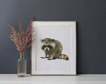 Baby Raccoon Art - Kids Wall Decor - Woodland Animals Nursery Wall Decor - Wildlife Art - Childrens Wall Art - Raccoon Picture - Cabin Art