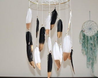 Baby Mobile, Baby Nursery  Dreamcatcher Mobile, Baby Boy Girl Mobile, Black and White Feather Baby Mobile, Woodland Nursery Mobile Decor