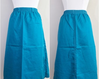 70s Blue A-Line Skirt // Plus Size Vintage Blue Skirt