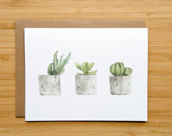 Cacti and Succulents - Blank Greeting Card