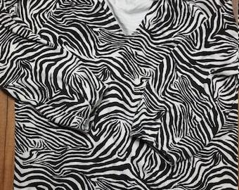 Vintage/Retro Zebra Animal Print Women's Size S Long Sleeve Shirt