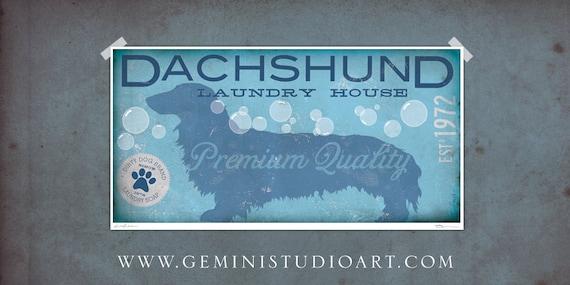 Dachshund laundry house laundry room artwork giclee archival
