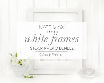 White Frames Styled Stock Photo / Product Mockup / 9 Styled Stock Photography / KateMaxStock Photography