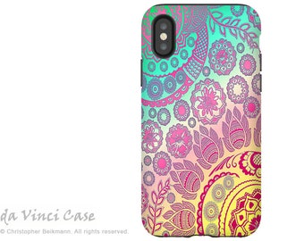 Pink Pastel Paisley - Artistic iPhone X Tough Case - Dual Layer Protection for iPhone 10 - Cotton Candy Mehndi by Da Vinci Case