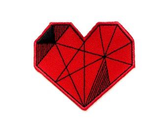 Coeur rouge géométrique (Patch autocollant)