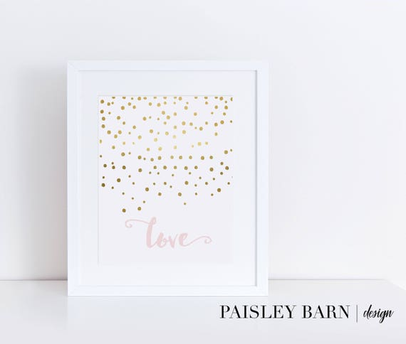LOVE Printable INSTANT DOWNLOAD, 8x10, Valentine, Gold, Pink, Confetti, Printable, Metallic, Faux Foil