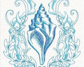Seaside Shell Etching embroidered kitchen tea towel, flour sack, 100% cotton towel, dishtowel.