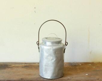Antique Cream Can Milk Can Pail Aluminum Rustic Farmhouse Decor