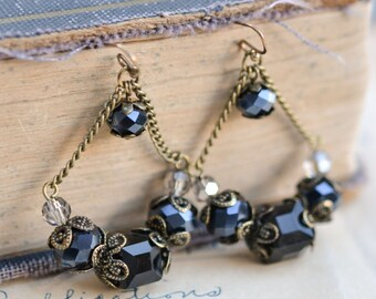 Black Antique Earrings / Czech Glass Beads / Brass / Neo Vintage Jewelry