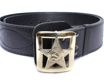 Russian Army military Officer leather belt with STAR