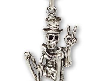 Peace Skeleton Cruising on Skateboard Silver Finish Pewter Pendant Necklace NK-55