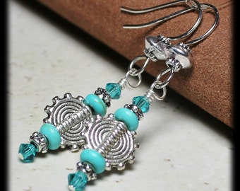 Reserved for Mary, Handmade Beaded Jewelry Earrings Aqua Teal Turquoise Gemstone Crystal Silver Sun Southwest Dangle Dainty Lightweight