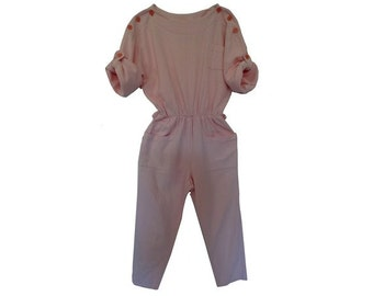 1980s pink cotton summer JUMPSUIT // New Wave Jumpsuit