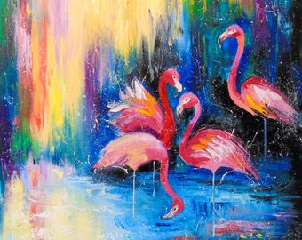 Flamingo   Flamingo art, birds painting, textured art,original art,nature painting,impressionism,bright,pop art,gift