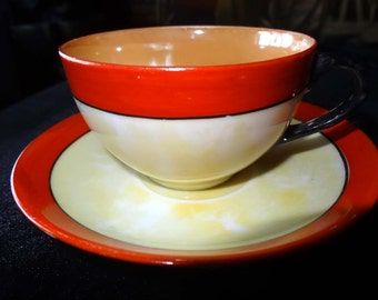 Tea Cup with Saucer Orange, Cream & Carmel Made in Japan China Home and Garden Kitchen and Dining Tableware Drinkware Coffee and Tea Cups