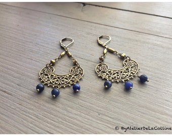 Edwina Art Deco earrings with sodalite beads