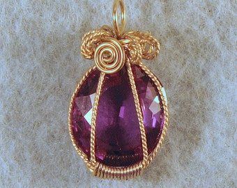 Color Change Alexandrite in Gold Filled Wire Wrapped Pendant Number 1 of 500