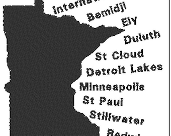 Minnesota State- Embroidery Design File - Instant Download - One color - 5 x 7 hoop -