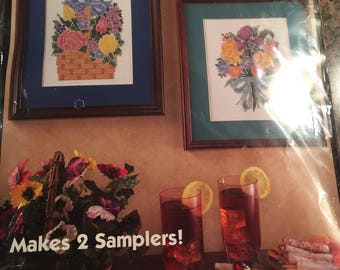 Bucilla Stamped Cross Stitch Kit Floral  Bouquet 2 Samplers 64396 Flower