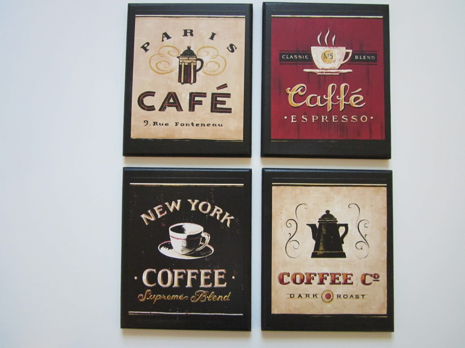 Very best Coffee Shop Plaques 4pc country red black beige kitchen wall FC22