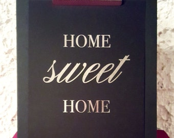 "Real foil   Print   Wall Art   Home   Apartment   Housewarming   ""Home Sweet Home"""