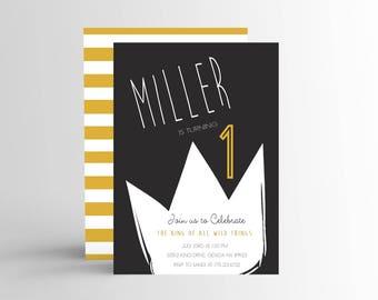 Simple Wild One Invitation, King Birthday Invitation