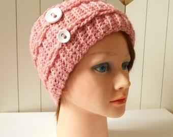 Pink headband for women crochet Headband