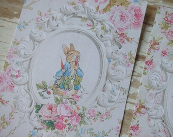 Peter Rabbit notecards - Shabby cottage Chic mini cards - crafting notecards - embellishments - scrapbooking cards