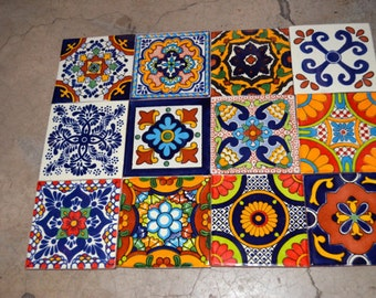 12 Mexican tiles mixed 4x4""