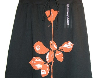 Depeche Mode Violator Rose A-Line Knee Length Cotton Knit Drawstring Skirt