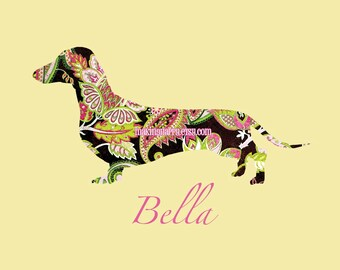 CHOOSE YOUR BREED Personalized Dog Print In Pretty Paisley