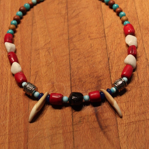 "Wolf Tooth Necklace 18"" Natural Garnet White Turquoise Coral Blue Jade Black Agate Aquamarine Blue Cats Eye Wood  African Native American"