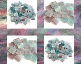 Teal Rose Squares Pearl Opal Stained Glass Mosaic Tiles Hand Cut Spectrum